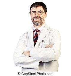 porter, sien, deux âges, laboratoire, poche, dentiste, fond, manteau, miroir, portrait, blanc, heureux