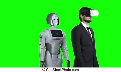 porter, sien, met, écran, après, côté, réalité virtuelle, him., vert, robot, main, type, répétitions, lunettes