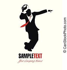 porter, silhouette, danse, élégant, retro, balançoire, homme, vêtements