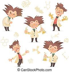 porter, stereotypic, chevelure, prof, laboratoire, fou, manteau, broussailleux