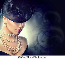 porter, style, femme, vieux, vendange, portrait., retro, façonné, girl, chapeau