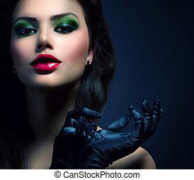 porter, style, mode, beauté, vendange, charme, girl., gants, modèle