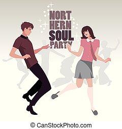 porter, style, nord, danse, couple, 60s, jeune, âme, retro, vêtements, ou, mod