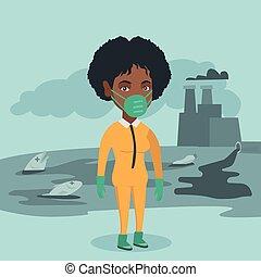 porter, suit., scientifique, radiation, protection
