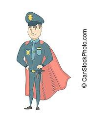 porter, superhero, policier, cloak., caucasien, rouges