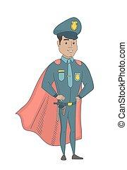 porter, superhero, policier, cloak., hispanique, rouges