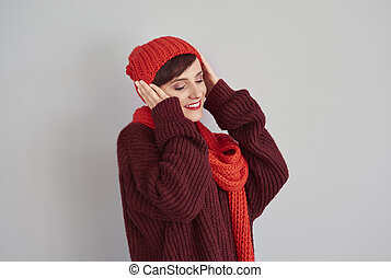 porter, tête, femme, elle, casquette, chaud