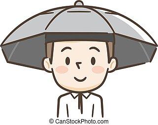 porter, tête, sien, jeune, parasol, homme