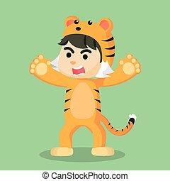 porter, tigre, mâle, déguisement, enfant