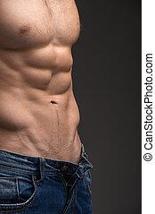 porter, torso., nue, jean, haut, musculaire, isolé, sombre, déboutonner, poser, fond, fin, sexy, mâle, sur