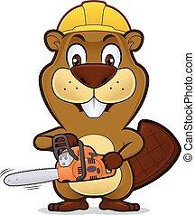 porter, tronçonneuse, construction, tenue, castor, chapeau