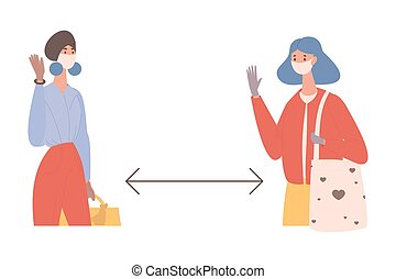 porter, vecteur, femmes, empêcher, maintenir, coronavirus, enduisage, illustration., social, masques, distance, plat