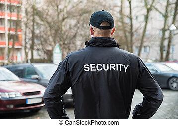 porter, veste, garde sécurité
