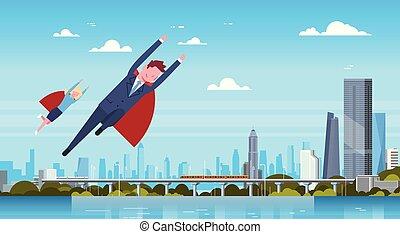 porter, ville, femme, héros, business, femme affaires, sur, voler, moderne, cap, homme affaires, rouges, homme