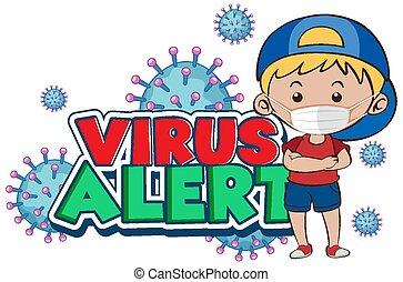 porter, virus, affiche, masque, conception, garçon, coronavirus, alerte, mot