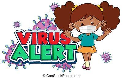 porter, virus, affiche, masque, conception, girl, coronavirus, alerte, mot