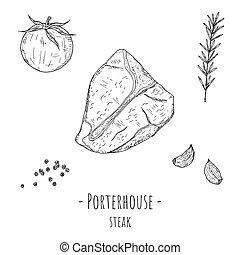 Porterhouse steak. Vector cartoon illustration. Isolated ...