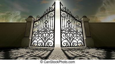 portes, cieux, ouvert, orné
