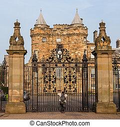 portes, entrée, palais, scot, holyroodhouse, edimbourg