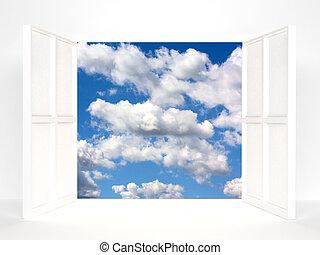 portes, ouvert, ciel