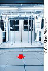 portes, ouvert, dans, station métro, à, flèche