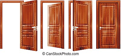 portes, ouvert, fermé, réaliste, ensemble