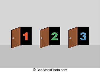 portes, ouvert, numéroté