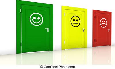 portes, smileys, trois