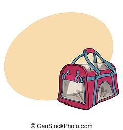 porteur, tissu, chiens, transport, chouchou, sac, voyage, chats