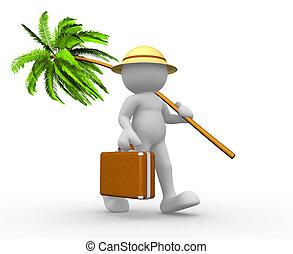 portfölj, och, palm-, träd