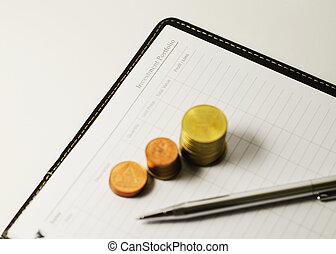 portfölj, plan, affär, investering