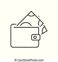 portfel, banknot, ikona