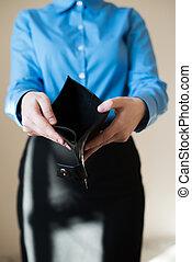portfel, kobieta dzierżawa, opróżniać