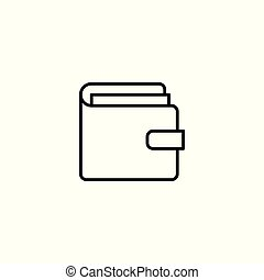 portfel, kreska, białe tło, ikona