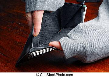 portfel, opróżniać
