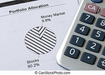 Portfolio allocation illustrates the asset in a pie chart
