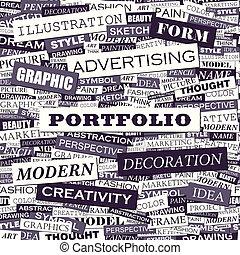 PORTFOLIO. Background concept wordcloud illustration. Print...