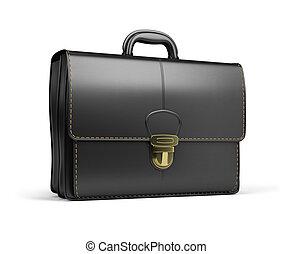 portfolio - Leather briefcase black. 3d image. Isolated...