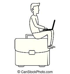 portfolio, laptop, jovem, trabalhando, homem