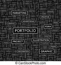 PORTFOLIO. Seamless pattern. Word cloud illustration.