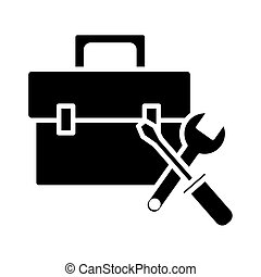 portfolio with wrench and screwdriver tools silhouette style icon vector illustration design
