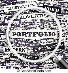 PORTFOLIO. Word cloud illustration. Tag cloud concept...