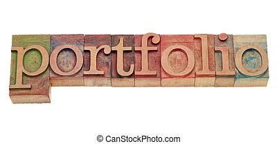 portfolio word in letterpress type - portfolio word in ...