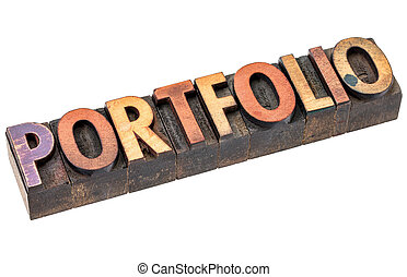 portfolio word in vintage wood type