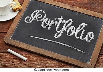 portfolio word on blackboard - portfolio word with white...