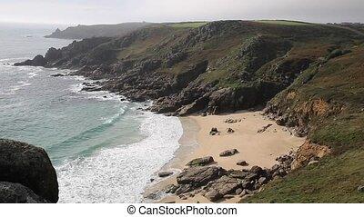 Porthchapel beach Cornwall England UK near the Minack...