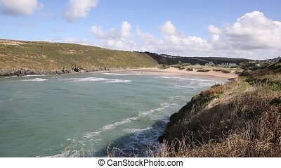 Porthcothan Bay Cornwall England UK Cornish north coast...