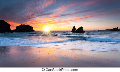 Porthcothan Bay Sunset - Dramtic sunset at Porthcothan Bay...