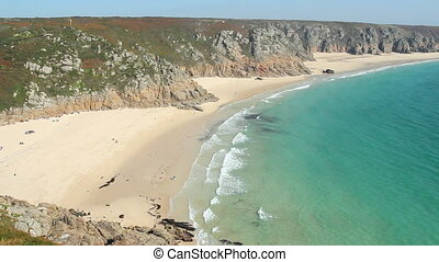Porthcurno and Pedn Vounder beach.