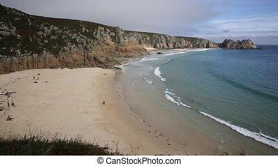 Porthcurno beach Cornwall England UK near the Minack Theatre...